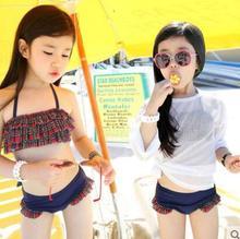 2017 red 4 ju NE handmade crochet bikini bandeau bow halter swimwear kids Floral bottom swimsuit hot summer suit swim suit