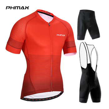 PHMAX 2019 Short Sleeves Cycling Jerseys Set Quick-Dry MTB Bike Clothing Summer Cycling Bib Shorts Set Bicycle Clothing For Men