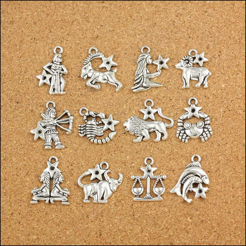 12pcs/lot Antique Silver Color 12 Zodiac Signs Charms Pendants Handmade Decoration Vintage Charms for DIY Jewelry Making