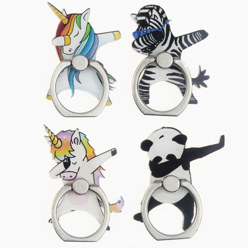 Cartoon Unicorn Horse Zebra Panda Finger Ring Smartphone Stand Holder Mobile Phone Holder For IPhone Huawei All Phone