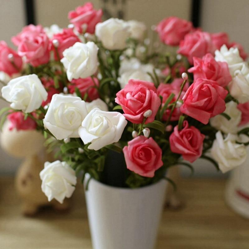 5 Bouquets 6 Heads 6 Color Spring Rose Silk Flower Artificial Flower Home Decor Diy Flower