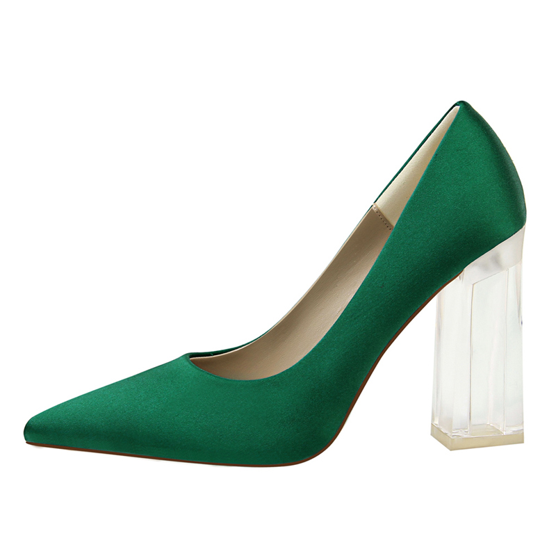 19 Plus Size 43 Women Block 10cm High Heels Lady Scarpins Green Satin Pumps Female Wedding Yellow Blue Silk Transparent Shoes 5