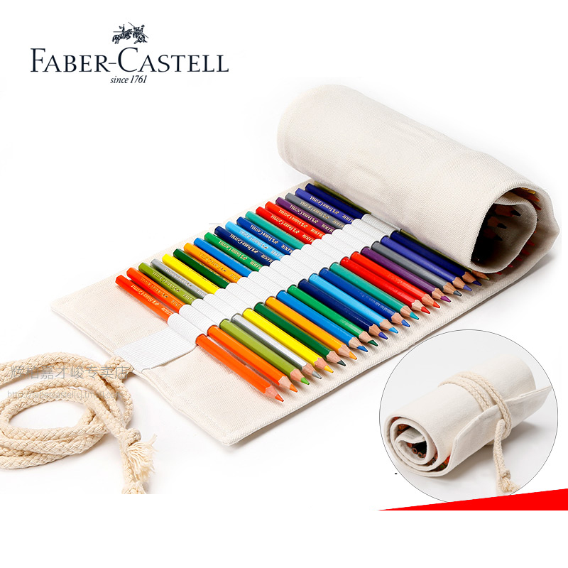 Faber Castell Colored Pencils Roll Up Pouch Canvas Pen Bag 48 /60/72 Colors Stationary Case Makeup Cosmetic Bag