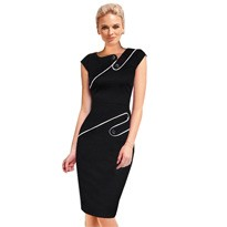 Black Dress Tunic Women Formal Work Office Sheath Patchwork Line Asymmetrical Neck Knee Length Plus Size Pencil Dress B63 B231 4