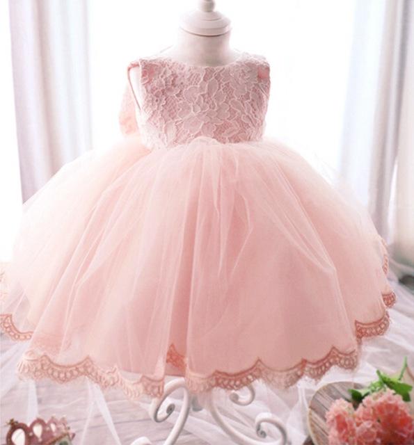 Elegante vestido de niña de 0-2 años de edad las niñas moda de verano de encaje rosa arco grande partido de la princesa flor de Tulle vestidos