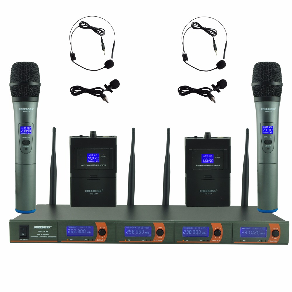 FREEBOSS FB V04H2 Professional Microphones VHF KTV Party Mic System 2 Handheld and 2 Headset Wireless