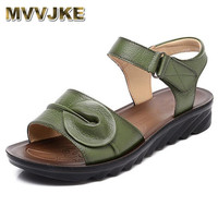 MVVJKE Summer Women Genuine Leather Sandals Vintage Ladies Flat Sandials Ankle Strap Fashion Casual Platforms Soft