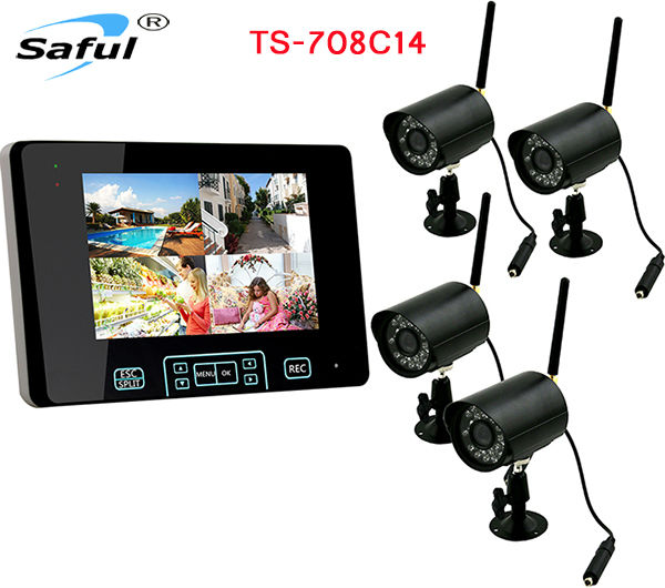 Total digital wireless, no privacy leak Wireless Video Surveillance System 4 Cameras+1 Monitor ...