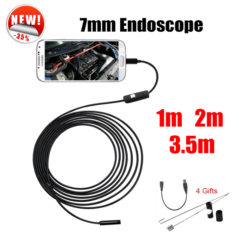Antscope Endoscope 7mm Mini USB Android Endoscope Camera 1M 2M 3.5M  Car Inspection Snake Tube MicroUSB Endoskop Camera antscope wholesale 7mm lens mini usb android endoscope camera waterproof snake tube 2m inspection usb borescope endoskop camera