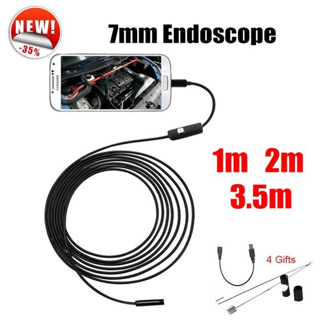 Antscope Endoscope 7mm Mini USB Android Endoscope Camera 1M 2M 3.5M  Car Inspection Snake Tube MicroUSB Endoskop Camera