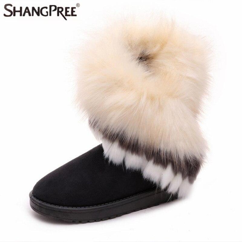 High quality Artificial plush fox fur Fashion Lady high snow boots for women winter boots flats shoes plush fur tassels shoes цена
