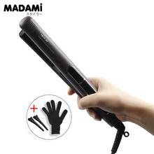 Buy online Electric Chapinha Hair Straightener 1 Inch Flat Iron Ceramic Tourmaline Plated LCD Display 230 Celsius 220V Coffee Color