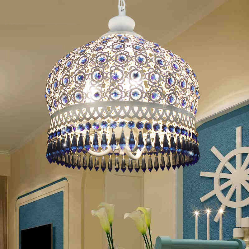Bohemian Mediterranean Blue Crystal Ceiling Drop Light Pendant Lamp Lampshade Lighting Fixture For Room Restaurant Cafe Decor
