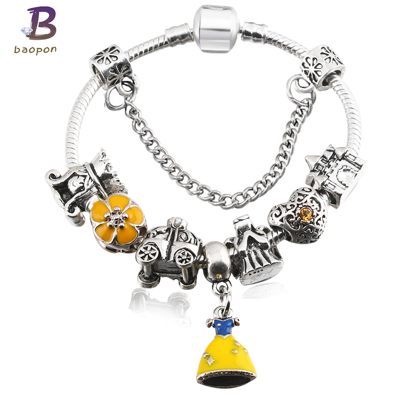BAOPON European Cartoon Yellow Skirt Crystal Pan Bracelet