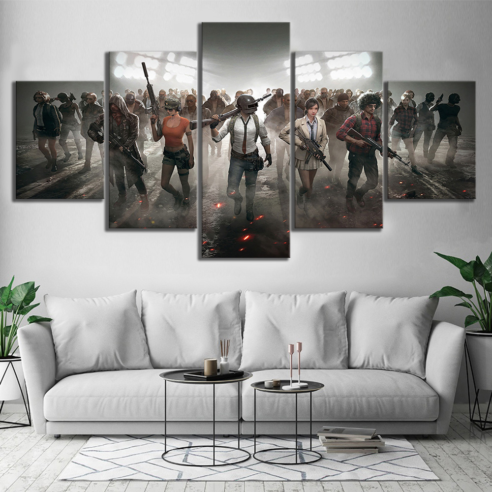 Pubg characters playerunknowns battlegrounds video game poster canvas painting wall art for home decor in painting calligraphy from home garden on