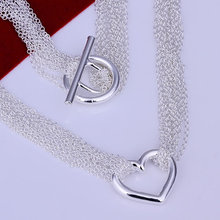 925 Серебряных ювелирных изделий Колье подвески Цепи, 925 серебряное ожерелье Веб Сердце Ожерелье rkzm pady