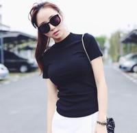2017 Turtleneck Short Sleeve T Shirt Female Solid Color All Match Tops Slim Basic Shirt Women