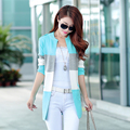 2016 Spring And Autumn New Long Knit Cardigan Women Korean Spell Color Stripe O Neck Slim Thin Coat Plus Size Wild J250