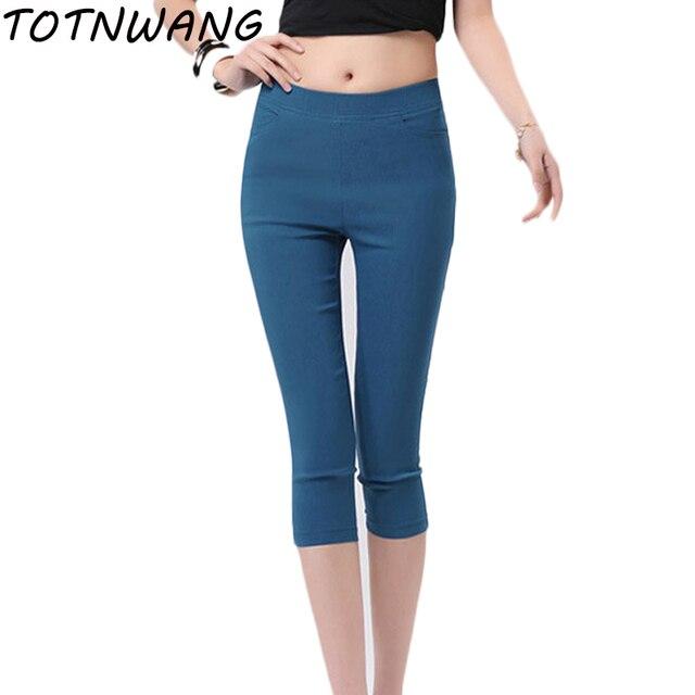 3 Colors Women Pants Plus size S-4XL Skinny Leggings Stretch Pencil Pants Famale Summer Trousers Pantalon Femme 3/4 pants