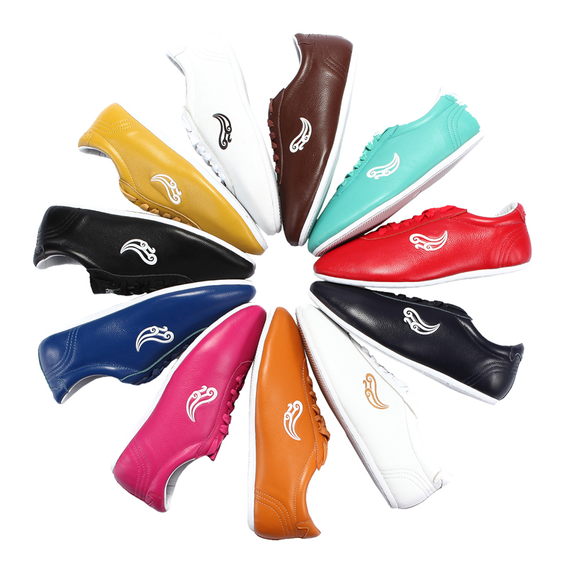 soft Cowhide Leather  Tai Chi Shoes Martial Art Shoes Taiji Boxing Practice Shoes Free Flexible