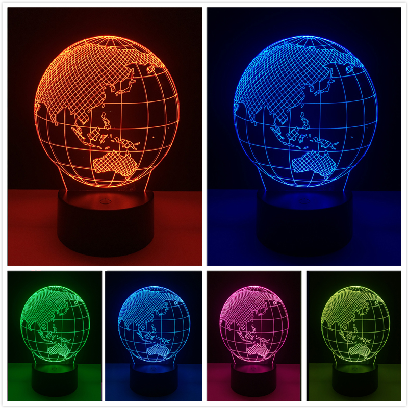 2018 3D Lamp 7 Color Dimming Gradient Oceania Map Led Night Light USB Touch Table Lampara Baby Sleeping Toys Gifts DropShipping