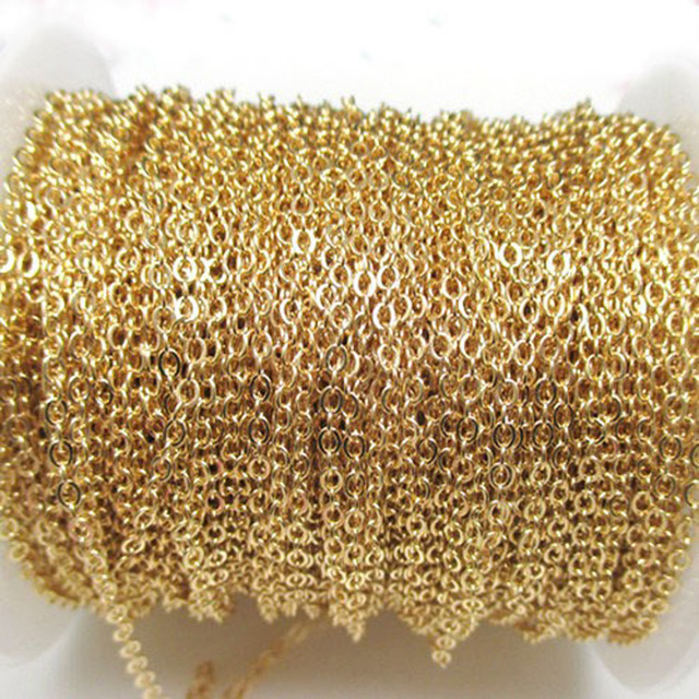 Wholesale in Bulk 10meter 1.5/2/2.5/3mm Gold Tone Stainless Steel Strong Thin Rolo Chain for DIY Jewelry Finding Necklace