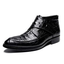 Hot Herfst Winter mannen Echt Lederen Business Schoenen Mens Retro Gesneden Laarzen Britse Populaire Klittenband Martin Oxfords(China)