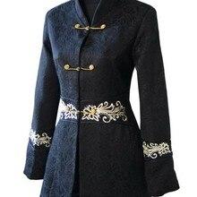 Модная куртка в китайском традиционном стиле, хлопковое женское длинное пальто, верхняя одежда