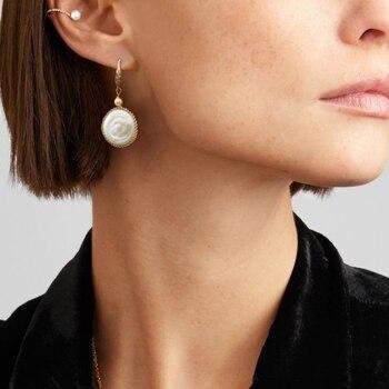 e6b9ffd44062 Margot barroco pendientes de perlas de Plata de Ley 925 pendiente de plata  de oro de