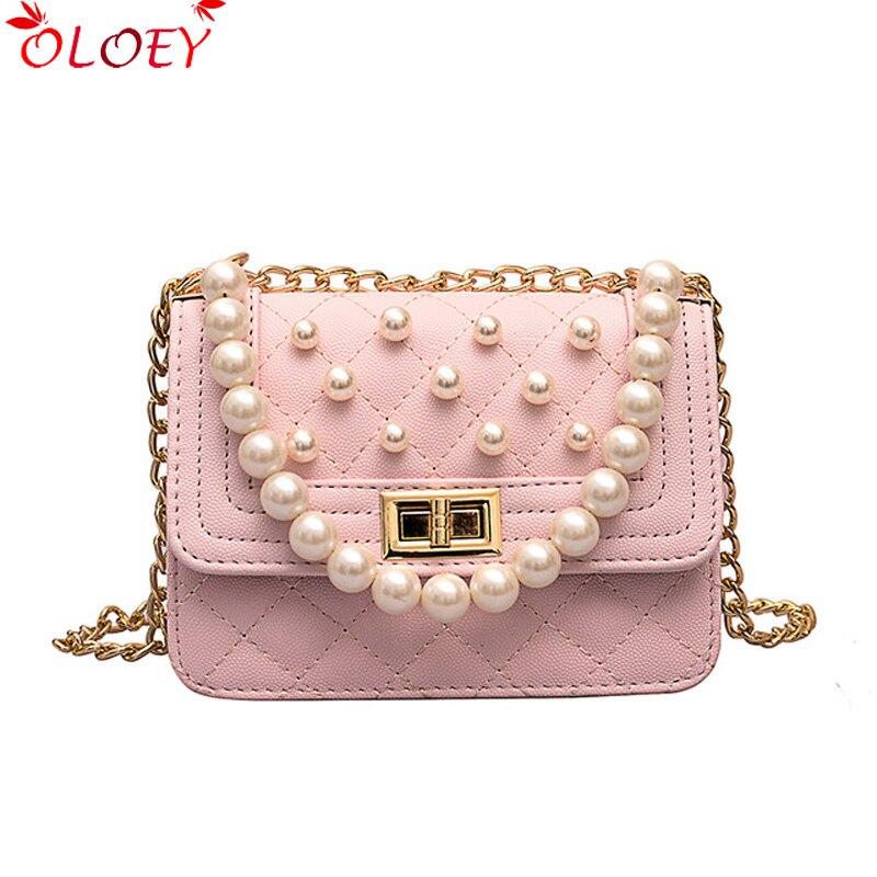 Sac carré de luxe 2019 mode nouvelle haute qualité en cuir PU sac à main de concepteur de femmes perle fourre-tout sac chaîne épaule Messenger sacs