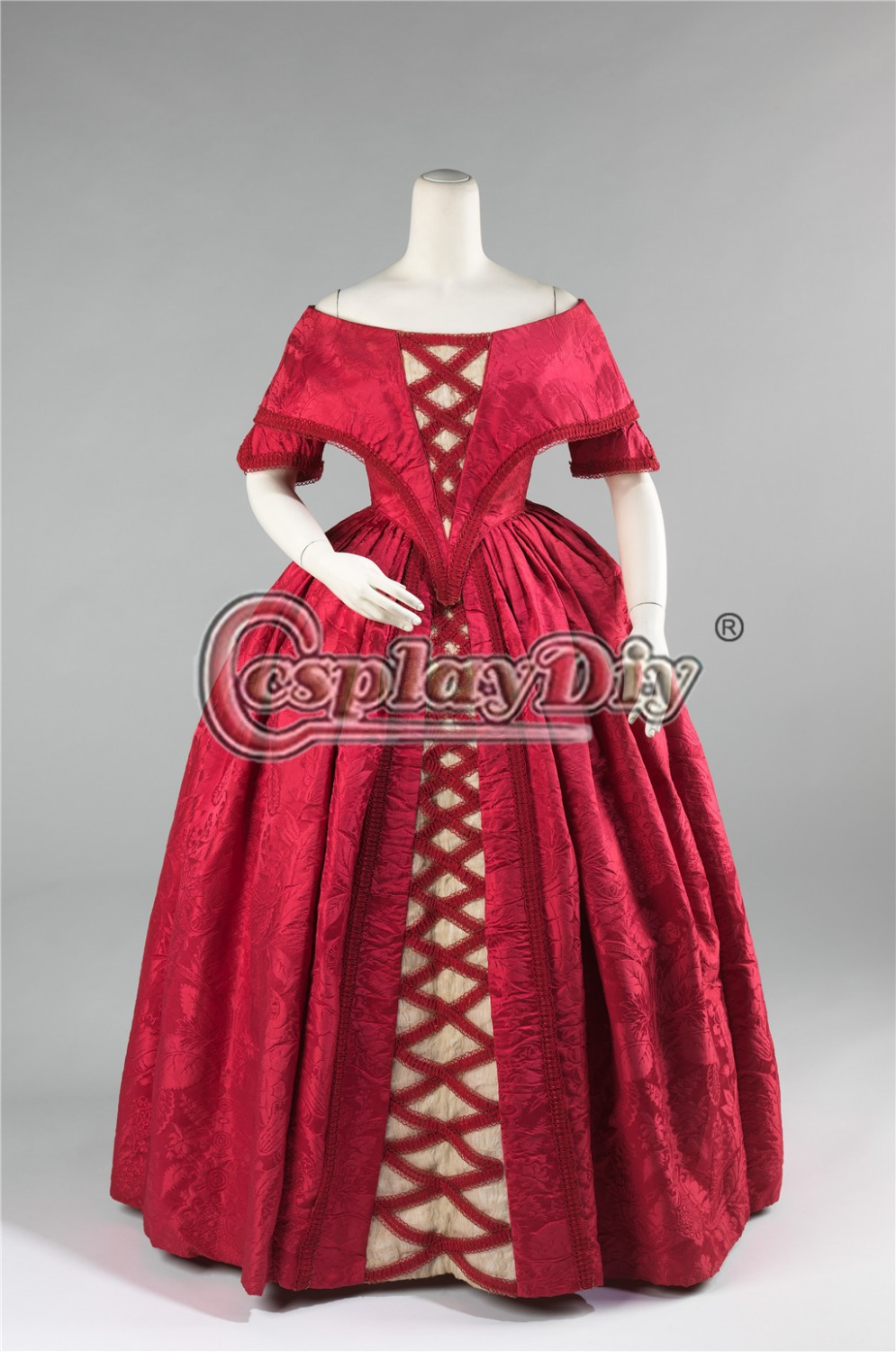 Cosplaydiy Custom Made 19th Century British Cosplay Ball Gown Dress Adult Antoinette Baroque Ball Gown Dress L320