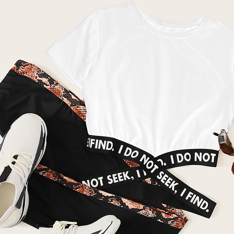 New Women 39 s Short Sleeve T Shirt Harajuku Style Lady Print Short Sleeve Top Casual Letter Print Solid Color Joker T Shirt in T Shirts from Women 39 s Clothing