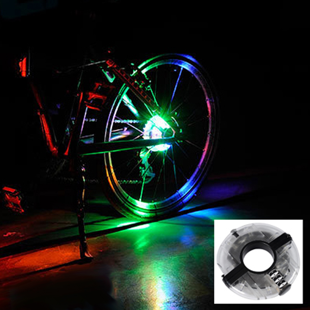 Easy Installing Anti-shock Waterproof Bicycle Lights Bicycle Hubs Front Tail Led Spoke Wheel Warning Lights mountain bike four perlin disc hubs 32 holes high quality lightweight flexible rotation bicycle hubs bzh002