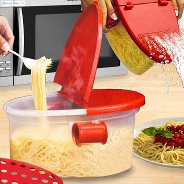 Perfect Pasta Cooker Spaghetti Bowl Heat Resistant Pp Boat Microwave Steamer Strainer Kitchen