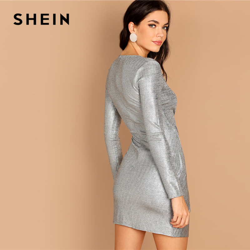 SHEIN Silver Deep V Neck Twist Front Surplice Wrap Metallic Sheath Long  Sleeve Short Dress Women Going Out Autumn Dress-in Dresses from Women s  Clothing on ... 2f153fdeb