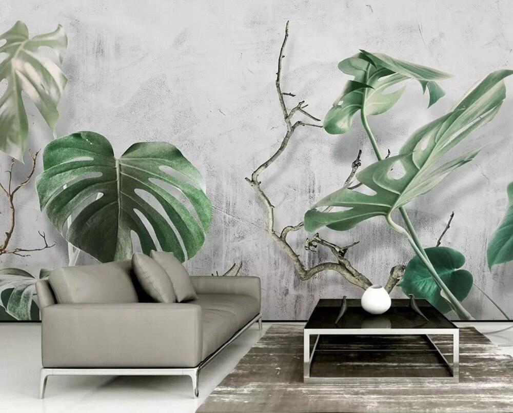 [Self-Adhesive] 3D Green Leaves 6 Wall Paper Mural Wall Print Decal Wall Murals