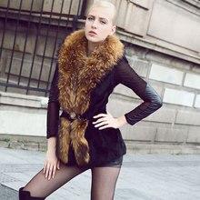 Real rabbit fur coat women with raccoon fur collar Autumn&winter noble winter luxury women rabbit fur coat free shopping QS-69