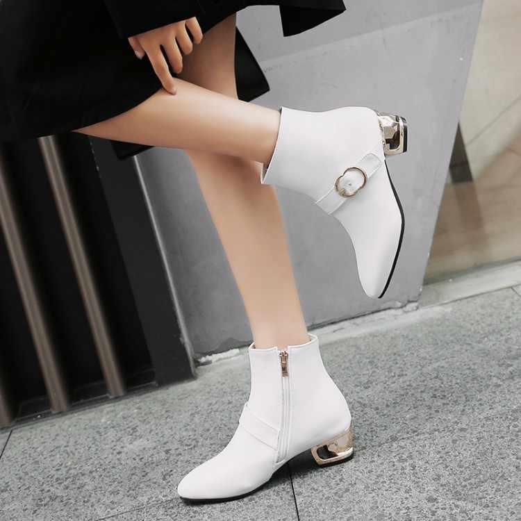 Большие размеры 11, 12, 13, 14, 15, 16, 17, модные короткие сапоги в европейском и американском стиле с острым носком, боковой пяткой, застежкой-молнией и ремешком