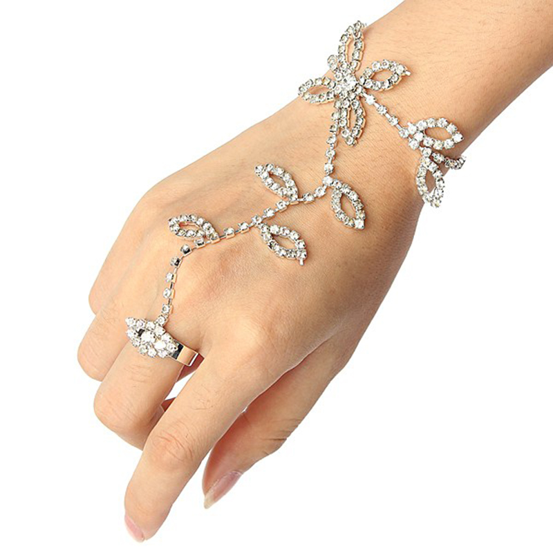 Fashion Leaves Flower Hand Harness Hand Chain Bracelet