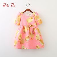 Girl Children Party Dress New Spring 2018 Toddler Dress Chick Print Short Sleeve Kids Clothes With