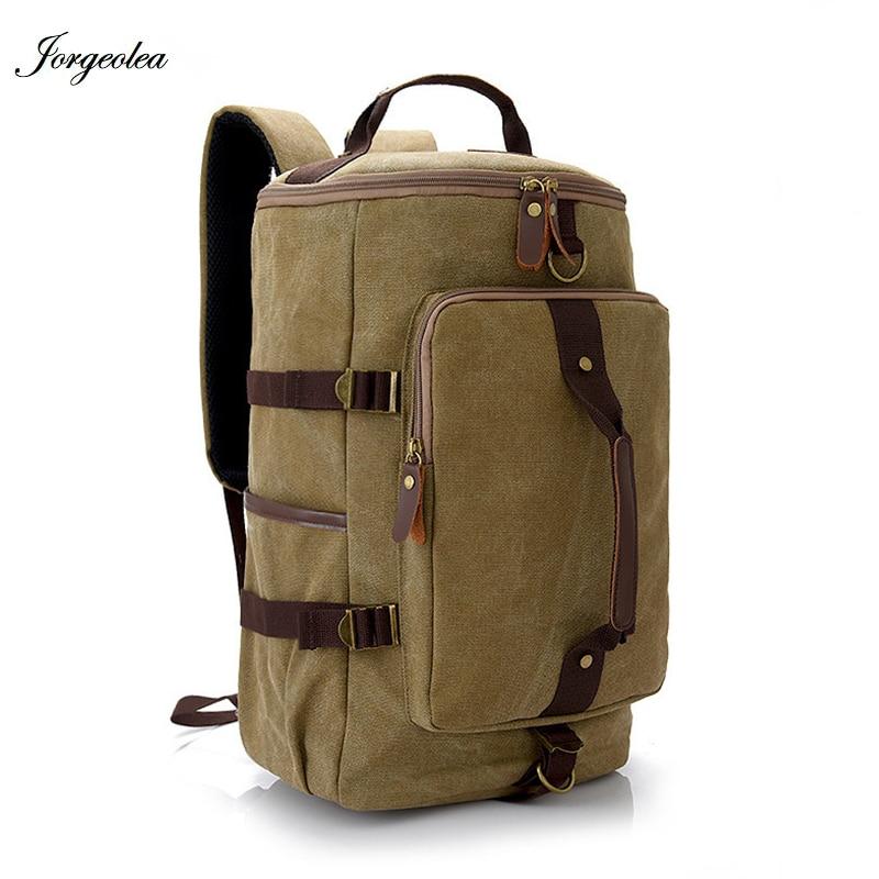 Jorgeolea Canvas Men/Women Backpack Large Capacity Travel Bag Vintage Leisure Bucket Bag Labtop Satchel Bag 1228