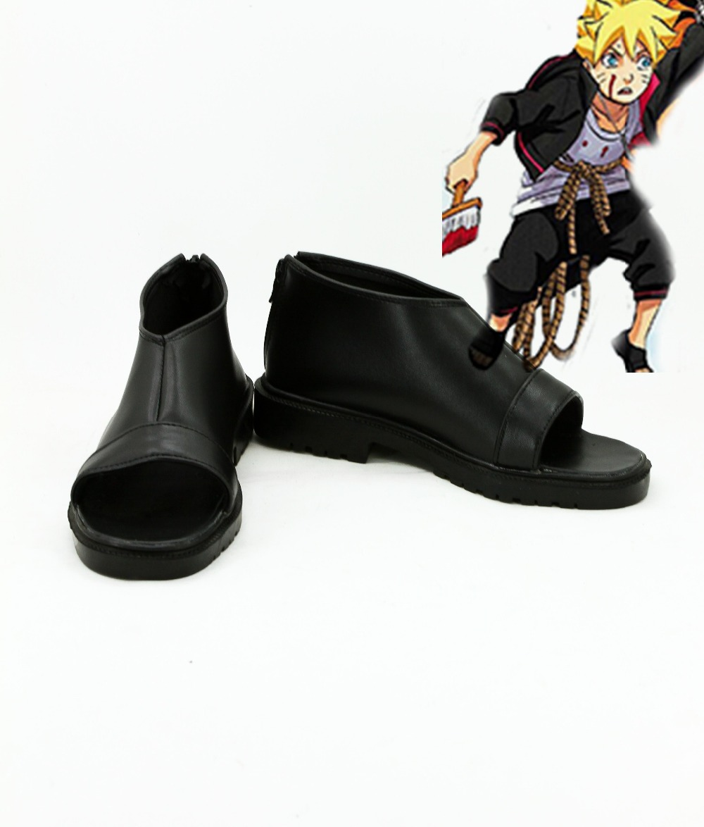 Japanese Anime Black Naruto Boruto Cosplay Shoes Boots For Christmas Halloween Party For Men Boys