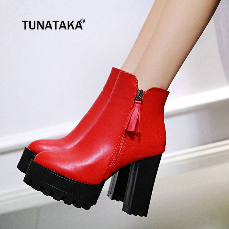 Fringe Thick High Heel Ankle Boots Fashion Platform Side Zipper Winter Women Boots Gray Red Black plus size 43 fashion platform knee high boots chunky high heel side zipper winter women shoes brown gray wine red black