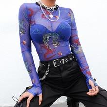 Sexy Tshirt Neck-Crop-Top Transparent Mesh See-Through Sale Womens Spring Streetwear