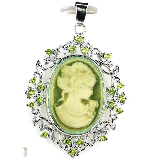 Fancy Long Big Cameo Onyx Lady Green Peridot 925 Silver Pendant 52x33mm
