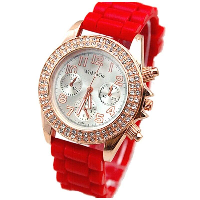 new arrival double round rhinestones watch women dress womage brand quartz lady elegance watch fashion silicone wristwatches hot