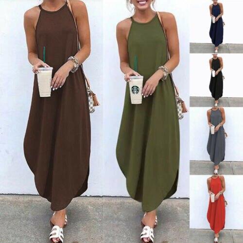 Boho Women's Hang Neck Irregular Maxi Dress Summer Sleeveless Casual Beach Long Dress
