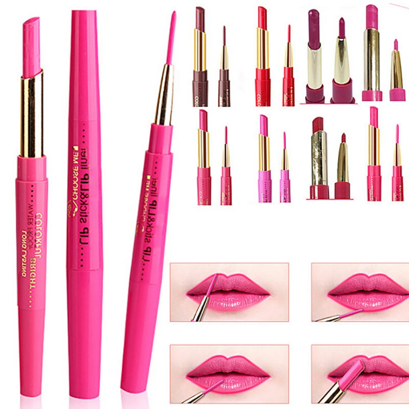 Makeup 12 Colors 2 In 1 <font><b>Matte</b></font> Lipliner+<font><b>Lipstick</b></font> Waterproof Lip Liner Long-lasting Make Up <font><b>Set</b></font> Cosmetics image