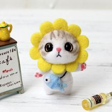 Cat Doll With Rabbit Wool Felt Craft DIY Non Finished Poked Set Handcraft Kit For Needle Material Bag Pack