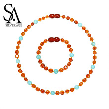 SA SILVERAGE Necklace/Bracelet for Baby Natural Amber Necklace 2019 Genuine Top Quality Gift Natural Baltic Bead Customize Women все цены